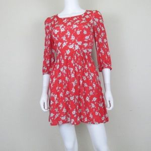 Free People | Red Gray Floral Mini Dress 2
